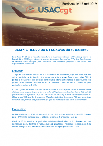 DSAC-SO : compte rendu du CT DSAC-SO du 16 mai 2019