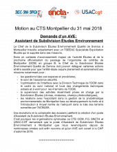 Motion ​Intersyndicale​ au CT-​Montpellier​ du 31-5-18 ​(Demande ​ AVE Assistant Sub CA Etudes​)​