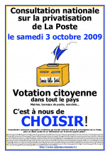 Consultation nationale sur la privatisation de La Poste, le samedi 3 octobre 2009